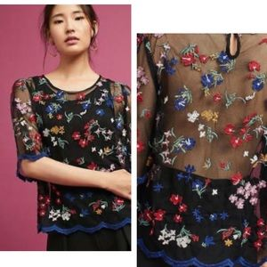 Anthropologie Maeve Embroidered Top small